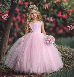 Wholesale Lace Flower Girl Dresses China - Lovely 2018 Pink Lace Tulle Ball Gown Flower Girl Dresses For Wedding Girls Pageant Gown Crew Cut Out Back Custom Made China EN111515