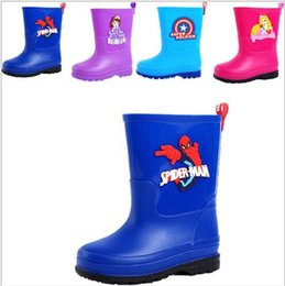 Wholesale Rainboots For Boys - Cartoon Movie Spiderman Sofia Princess Super Soldier Captain America Rainboots Galoshes for Boys and Girls MD307