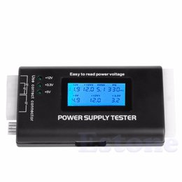 Wholesale Psu Sata - LCD Power Supply Tester Multifunction Computer 20 24 Pin Sata LCD PSU HD ATX BTX Voltage Test Source High Quality
