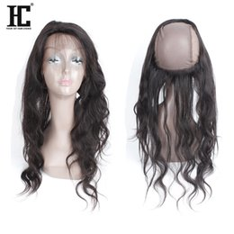Wholesale Brazilian Bands - Brazilian Peruvian Malasian Indian Virgin Human Hair Pre Plucked 360 Lace Band Frontal With Cap Top 360 Lace Frontal Closure Free Part HC
