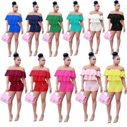 Wholesale Sexy Elastic Jumpsuits - 2017 New Style Spring Summer Women Sexy Soid Casual Bodycon Playsuit Mujer Pink Ruffles Slash Neck Romper New Arrivals Fashion Jumpsuits