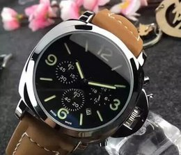 Wholesale Genuine Leather Watches - Luxury Men's Watch GMT Ceramica Automatic mechanical watches 3 Day P.9001 Black Genuine Leather Watch Business Brand 1950 wristwatch