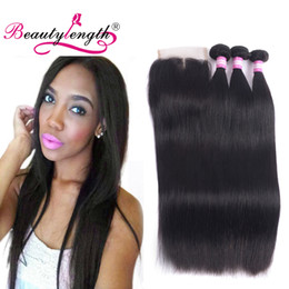 Wholesale Hair Lace Top Closure Sale - Big Sale Unprocessed Peruvian Straight Hair With Closure 3 Bundles Wich Top Lace Closure Virgin Straight Hair Lace Closures With Bundles