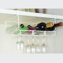 Wholesale Bathroom Glass Shelves - New Wine Cup Storage Rack Hanging Wine Glass Holder White Champagne Stemware Holder Fashion Bar Glass Bottle Rack Organizer