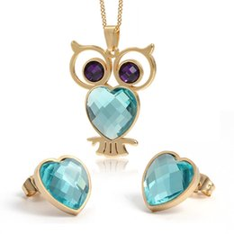 Wholesale Owl Earrings China - Sweet Jewely Set for Bride 18K Yellow Gold Plated AAA Rhinestone Heart Owl Earrings Necklace Set for Girls Women for Party JS-052