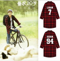 Wholesale Kpop Sale - Wholesale- 2016 Special Offer Sale Trench Trench Coat Men Kpop Coat Plaid Exo Luhan Baekhyun Sehun Kris Long-sleeved Hoodiekpop Clothes