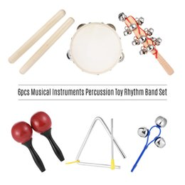 Wholesale Percussion Band Instruments - 6pcs Musical Instruments Percussion Toy Rhythm Band Set Triangle Hand Bells Claves Bell Stick & Maracas Toys for Kids