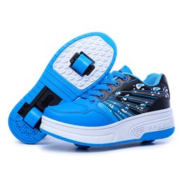 Wholesale Adult Skate Shoes - New Kids Adults Roller Shoes Athletic Boys Girls Sneakers Run With Wheels Con Ruedas Automatic Skating Shoes breathable for men woman blue