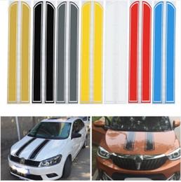 2019 motor de vinilo Universal 130 cm x 24 cm capó del coche pegatinas rayadas cubierta del motor Styling calcomanía reflectante vinilo DIY decoración PVC motor de vinilo baratos
