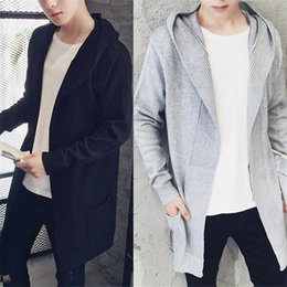 Wholesale Cool Men Sweaters - Harajuku Fashion Style Extend Long Cardigan Men Solid Black Sweater Autumn Winter Warm Pull Homme Special Cool Sweater 3XL