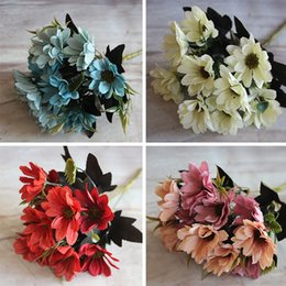 Wholesale French Artificial Flowers - Wholesale- French Rose Floral Bouquet Artificial Fake Peony Flower Arrange Table Daisy Wedding Home Decor Party Red