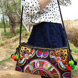 Wholesale Ethnic Bags - Wholesale-2016 national trend ethnic Embroidered bag handmade double faced embroidery Messenger shoulder bag handbags