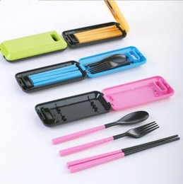 Wholesale Chopsticks Portable - Tableware Pinkycolor Creative Portable Three Pieces Dinner Sets Plastic Chopsticks Spoon Fork Fold Combination Travel Cutlery suit YYA131