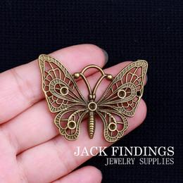 Papillon antique bronze pendentif collier en Ligne-Gros-5pcs 48X37mm Antique Bronze Charmes Bracelet Collier Pendentif Classique Papillon