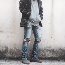 Wholesale Damaged Jeans - High street, European and American hipster knees damaged washed plain trousers with plain-coloured trousers, JUSTIN east gate jeans foreign