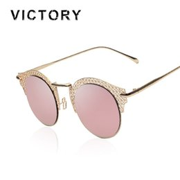 Wholesale Circle Shades Men - Wholesale-Polarized 2016 New Vintage Style Cat Eye Mesh Sunglasses Metal Frame Sexy Female Shades Mirror Retro Circle Round Sun Glasses