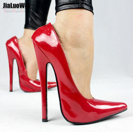 Wholesale Sexy Women Stage - Free Shipping 2017 GAGA Customize Big Size Adult Stage Show Single Shoes Women Pumps Fashion Sexy Buckle Hollywood Queen High Heels 18cm