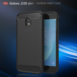 Wholesale Fibre Case - For Samsung Galaxy J3 2017 J330 Carbon Fibre Case Slim Rugged Armor Shockproof Soft Rubber Silicone Phone Cases Cover For J330