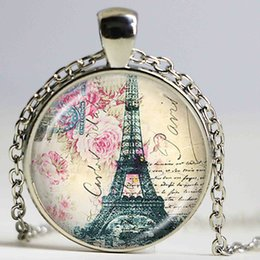 Wholesale Paris Music - Vintage Eiffel Tower Necklace Romantic Paris Tower with Blue Butterfly Bird Nest Flower Pendant Music Note Jewelry for Lover