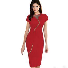 Wholesale Elegant Mesh Dress - 2017Hot selling Sexy Illusion Fashion Mesh Women Club wear Full Zip Back Black Patchwork Elegant Slim Pencil dress