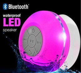 Wholesale Car Audio Led Lights - LED Waterproof Bluetooth Speaker with Color Light Sucker Wireless Bathroom Car Handsfree Phone Card Audio Subwoofer