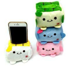 Wholesale Phone Holder Tofu - Wholesale-1 Piece New Car Phone Holder Cute Cartoon Tofu Plush Protect Block Seat Stand Mobile Cell Phone