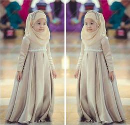Wholesale Muslim Girls - Long Sleeveless Satin A Line Floor Length Muslim Wedding Dress For LiTTLE Girl Flower Girl Dresses Kid Formal Wear