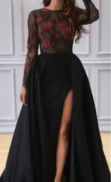 Wholesale Crystal Top Prom Dresses - 2017 Black Prom Dresses with Sheer Lace Top and Long Sleeves Red Rose Crystals Beaded Lace Satin Split Evening Dresses