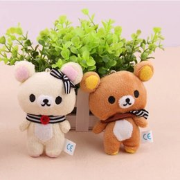 Wholesale bear stands - Kawaii Standing 11CM Lover Rilakkuma Bear Plush Stuffed TOY , Soft Figure DOLL , Key Chain Design ; BAG Pendant Charm TOY