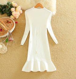 Wholesale Korean Bodycon Skirt - Fashion 2016 Autumn and Winter New Korean version woolen Solid round neck dress long-sleeved knitting lotus leaf skirt BA010
