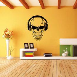 Wholesale Headphones Wall Decal - Hot Sale For Skull Wearing Headphones Music Vinyl Removable Wall Art Sticker Decal Bedroom Sitting Room Diy