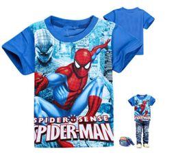 Wholesale T Shirts Boys Spiderman - boys summer shirt short sleeves spiderman pattern t-shirt cotton blue red for kids boy high quality children clothes summer children clothin