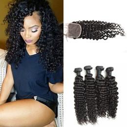 Wholesale Deep Wave Human Hair 5pcs - Malaysian Curly Hair Extensions With Closure 5pcs Lot Virgin Deep Wave Human Hair Bundles With Closure G-EASY