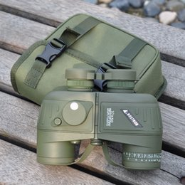 Wholesale Telescopio Binocular - Hot Army Green HD Waterproof Binocular Telescopio 10X50 Shockproof Camouflage Optics Binoculars Telescope with Compass for Hunting 396FT