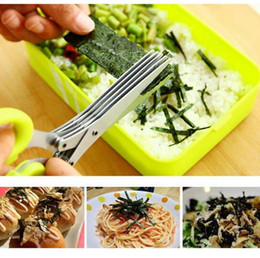 Wholesale Knife Sushi Steel - Multi-functional Stainless Steel Kitchen Knives 5 Layers Scissors Sushi Shredded Scallion Cut Herb Spices Scissor Cutter free shipping