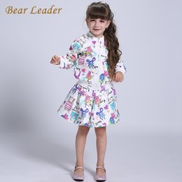 Wholesale Bear Grils - Wholesale- Bear Leader Girls Clothing Sets 2016 Brand Girls Clothes Cartoon Long Sleeve Girls Outerwear+Grils Skirts 2pcs for Kids Clothes