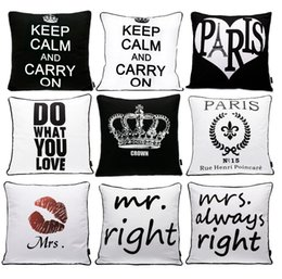 Wholesale Mustache Case Cover - Modern Black And White Cushion Cover English Letters HAPPY LOVE PARIS MR RIGHT Cushion Covers Mustache Lips Print Pillow Case Gift
