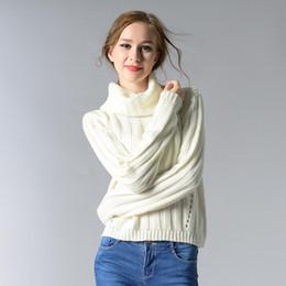 Otoño   Invierno Vintage Jersey de manga larga de cuello suelto surtleneck  jersey de punto blanco amarillo gris suéteres Top corto 1647c1712614