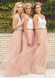 Wholesale Light Purple Maxi Skirt - 2017 Hot Cheap Bridesmaid Dresses Tulle Skirt Blush Prom Dresses Bridesmaid Maxi Skirt Evening Party Gowns