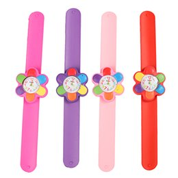 Wholesale Digital Toy Watches - Children Watch Digital Slap Watch Cute Flower Slap Watches for Kids Flap Ring Watch for Baby Girl Boy Gift Toy