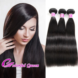 Wholesale Wholesale Raw Hair - ColorfulQueen Indian Straight Virgin Hair Weaves 3pcs Lot 300g Human Hair Extensions Natural Raw Indian Silky Straight Hair 3 Bundles