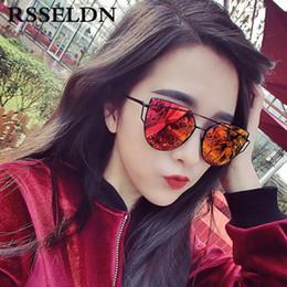 Wholesale wholesale frameless mirrors - Wholesale-RSSELDN New Fashion Cat Eye Sunglasses Women Classic Brand Designer Twin-Beams Sun glasses UV400 Coating Mirror Oculos de sol