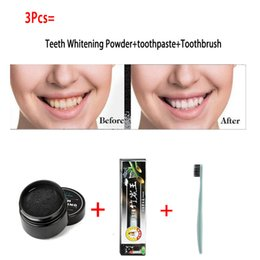 Wholesale Charcoal Toothbrushes - 3Pcs Teeth Whitening Set Bamboo Charcoal Toothpaste+Natural Teeth Whitening Powder+Ultra Soft Toothbrush Oral Hygiene Cleaing Whitening