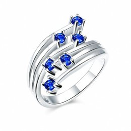 Wholesale Nickel Stone - HOT SALE Silver plated Ring BLUE Crystals Pave Cubic Zircon Stone Nickel Free mix Order Health Jewelry 3 colors