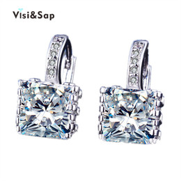 Wholesale Plant Hoops - Visisap White Gold Color Square cubic zirconia earrings trendy bijoux Hoop Earrings For Women Fashion jewelry for lady VSE016