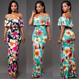 Wholesale Print Sheath Dress - 2017 Sexy Boat Neck Printed Floral Woman Summer Dresses Casual African Style Sheath Zipper-Up Backless Floor Length Long Maxi Dress FS1179