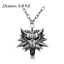 Wholesale U Link - Wholesale-OCEAN Hot Sale Wizard Witcher 3 Medallion Pendant Necklace Wolf Head Necklace U Pick Color Halloween Necklace