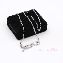 Wholesale Highly Steel Chain - JESUS letter pendant Highly polished stainless steel Choker Clavicle necklace Do not break the cross chain