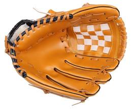Guantes marrones hombres online-Deportes al aire libre Brown Baseball Glove Softball Practice Equipment Tamaño 10.5 / 11.5 / 12.5 para hombre adulto Entrenamiento de la mujer