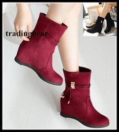 Wholesale Womens Wedge Heel Motorcycle Boots - Adorable winter boots add fur mid heels wedge shoes womens ankle boots size 33 34 to 40